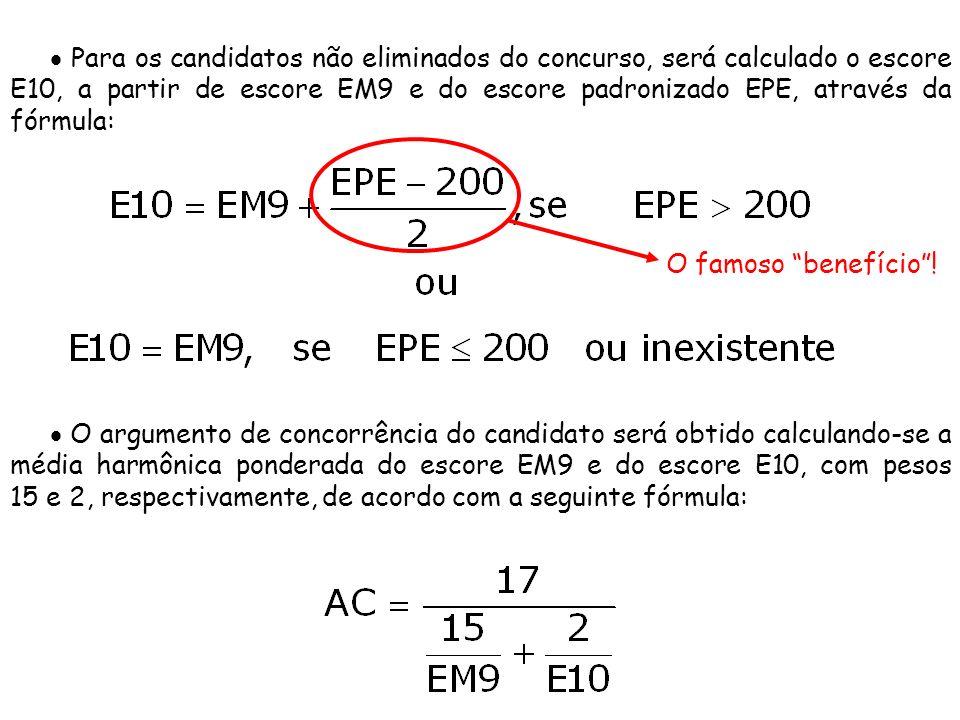  Para os candidatos não eliminados do concurso, será calculado o escore E10, a partir de escore EM9 e do escore padronizado EPE, através da fórmula: