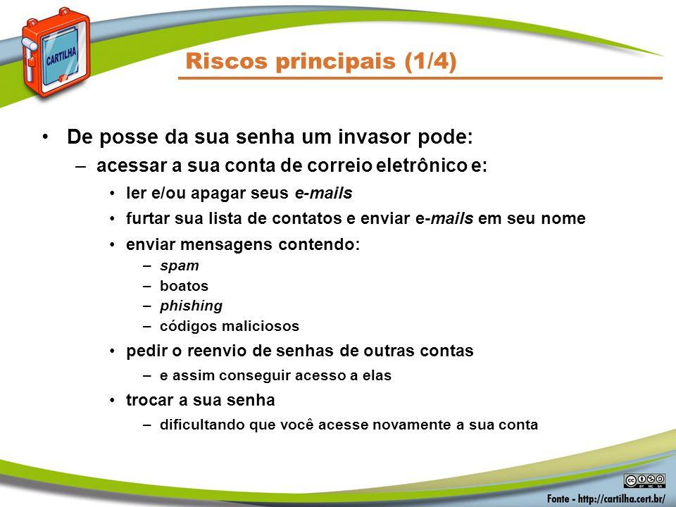 Riscos principais (1/4) De posse da sua senha um invasor pode: