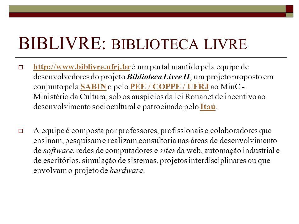 BIBLIVRE: BIBLIOTECA LIVRE