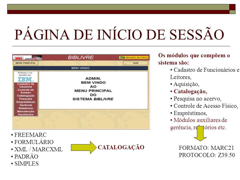 PÁGINA DE INÍCIO DE SESSÃO