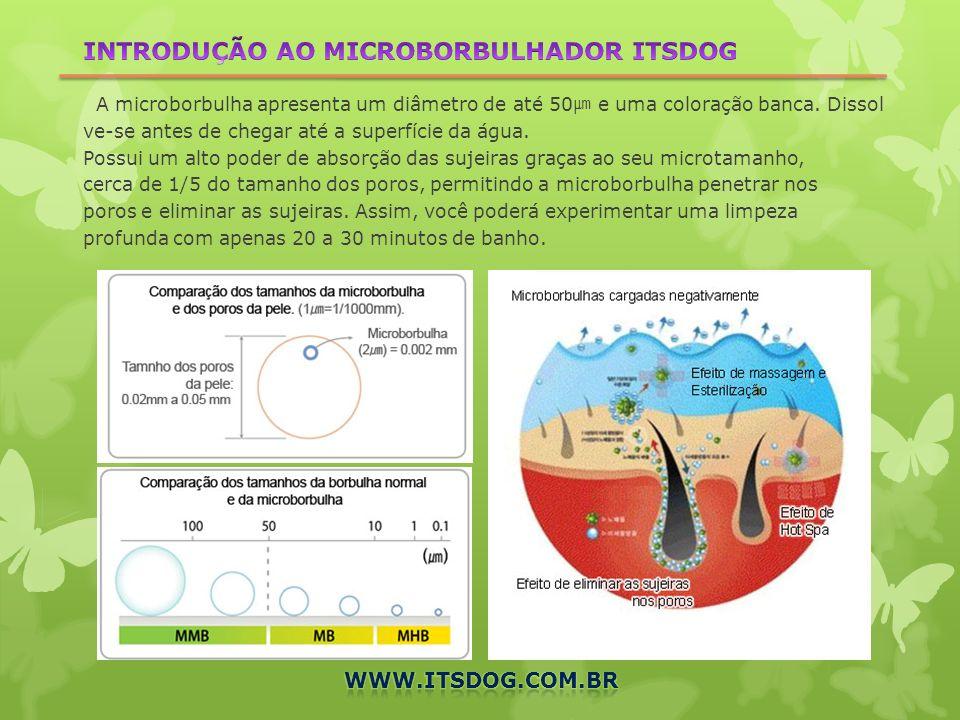 INTRODUÇÃO AO MICROBORBULHADOR ITSDOG A microborbulha apresenta um diâmetro de até 50㎛ e uma coloração banca. Dissolve-se antes de chegar até a superfície da água. Possui um alto poder de absorção das sujeiras graças ao seu microtamanho, cerca de 1/5 do tamanho dos poros, permitindo a microborbulha penetrar nos poros e eliminar as sujeiras. Assim, você poderá experimentar uma limpeza profunda com apenas 20 a 30 minutos de banho.