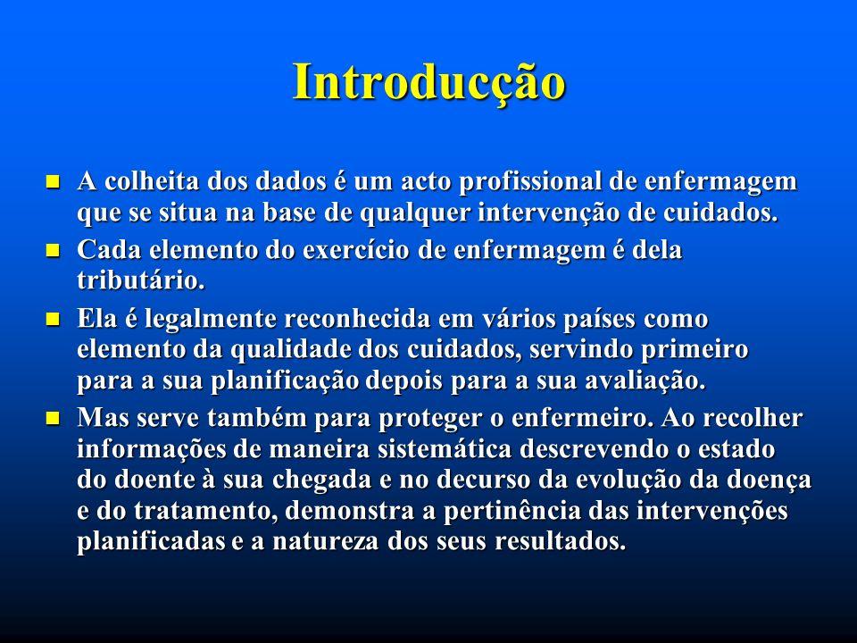 Introducção A colheita dos dados é um acto profissional de enfermagem que se situa na base de qualquer intervenção de cuidados.