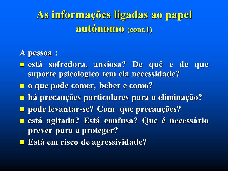 As informações ligadas ao papel autónomo (cont.1)