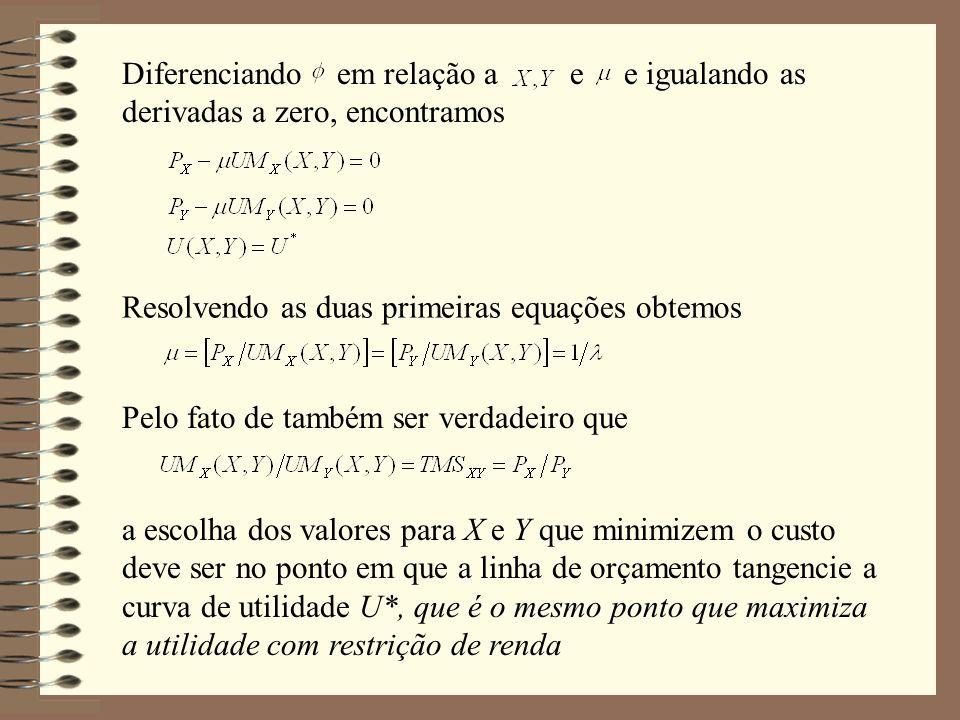 Diferenciando em relação a e e igualando as derivadas a zero, encontramos