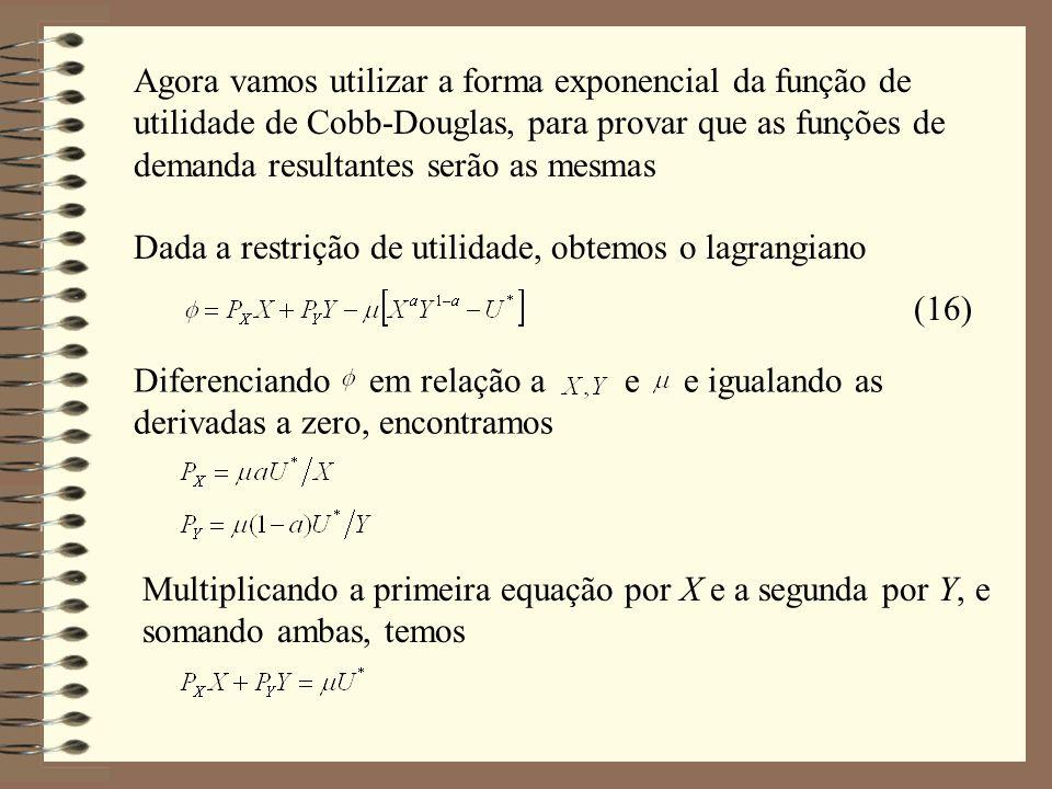 Agora vamos utilizar a forma exponencial da função de utilidade de Cobb-Douglas, para provar que as funções de demanda resultantes serão as mesmas