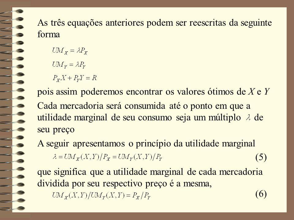 As três equações anteriores podem ser reescritas da seguinte forma