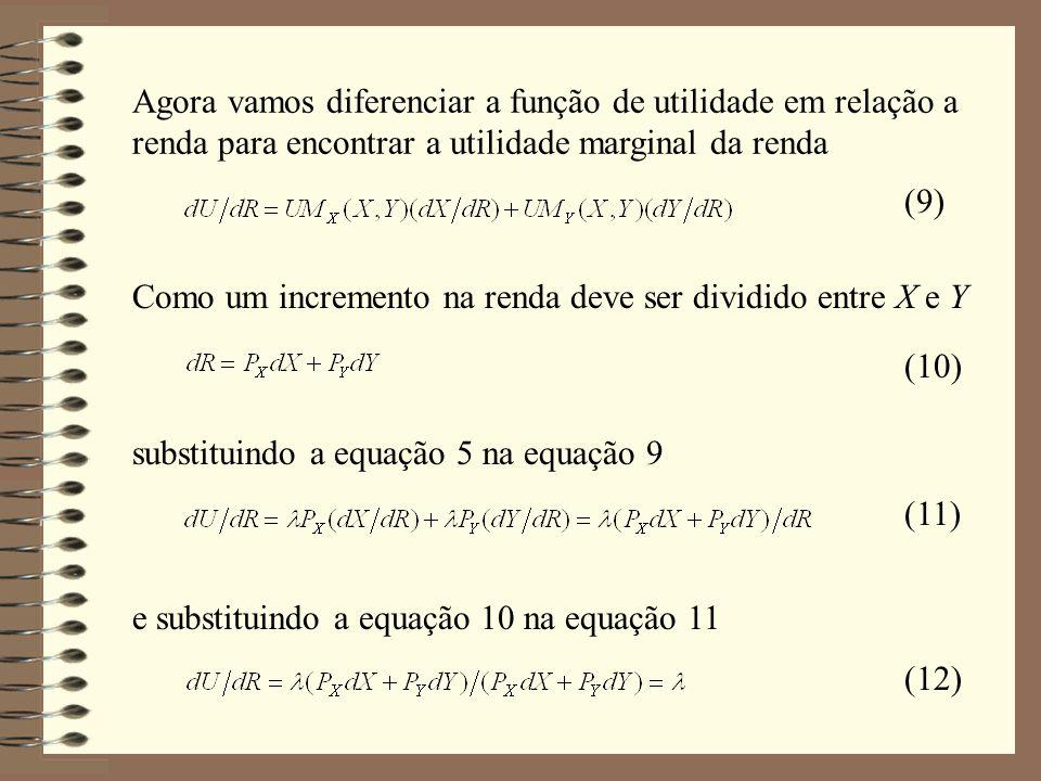 Agora vamos diferenciar a função de utilidade em relação a renda para encontrar a utilidade marginal da renda