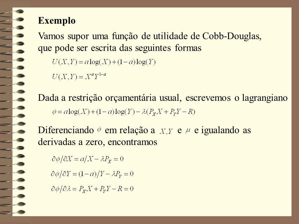 Exemplo Vamos supor uma função de utilidade de Cobb-Douglas, que pode ser escrita das seguintes formas.
