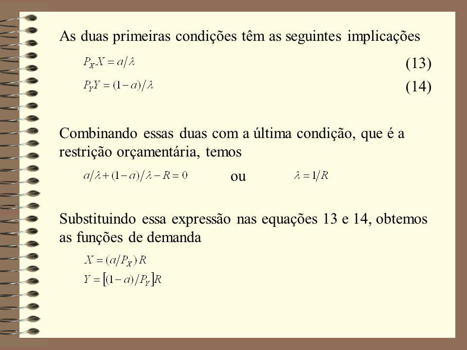 As duas primeiras condições têm as seguintes implicações