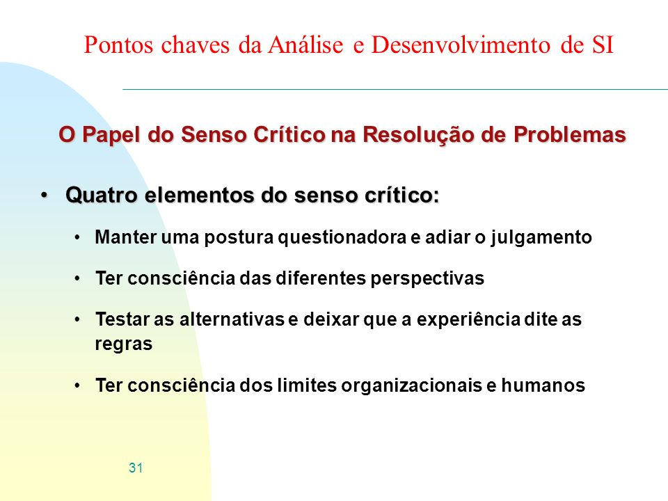 O Papel do Senso Crítico na Resolução de Problemas