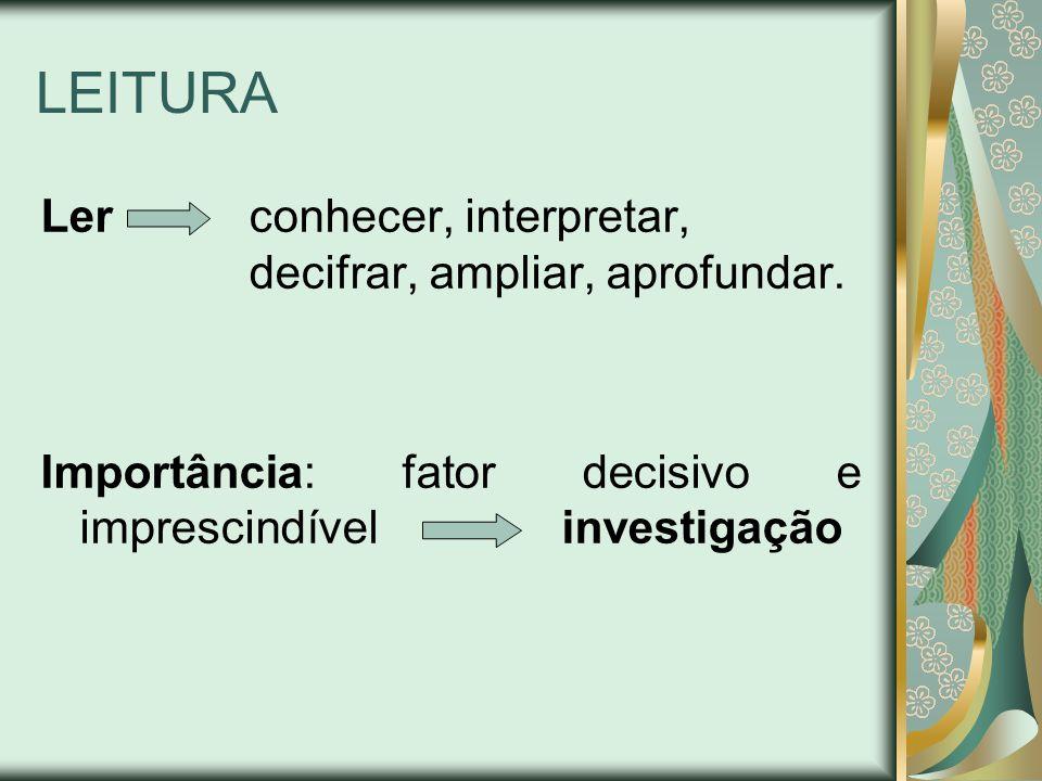 LEITURA Ler conhecer, interpretar, decifrar, ampliar, aprofundar.