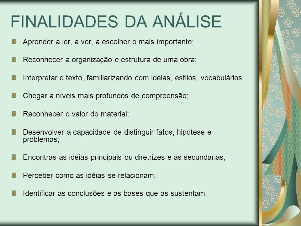 FINALIDADES DA ANÁLISE