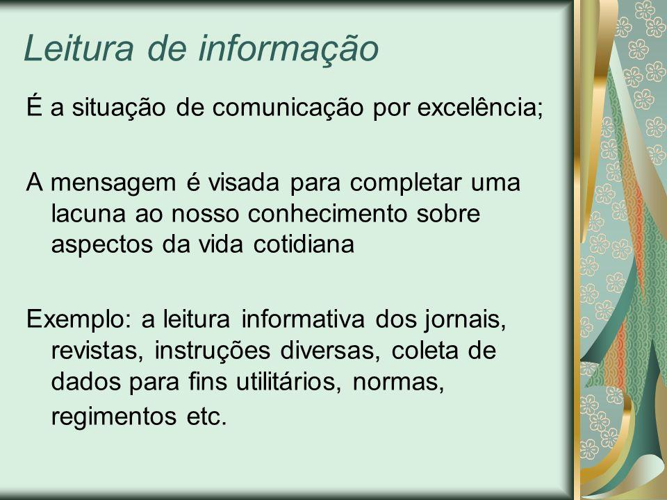 Leitura de informação É a situação de comunicação por excelência;