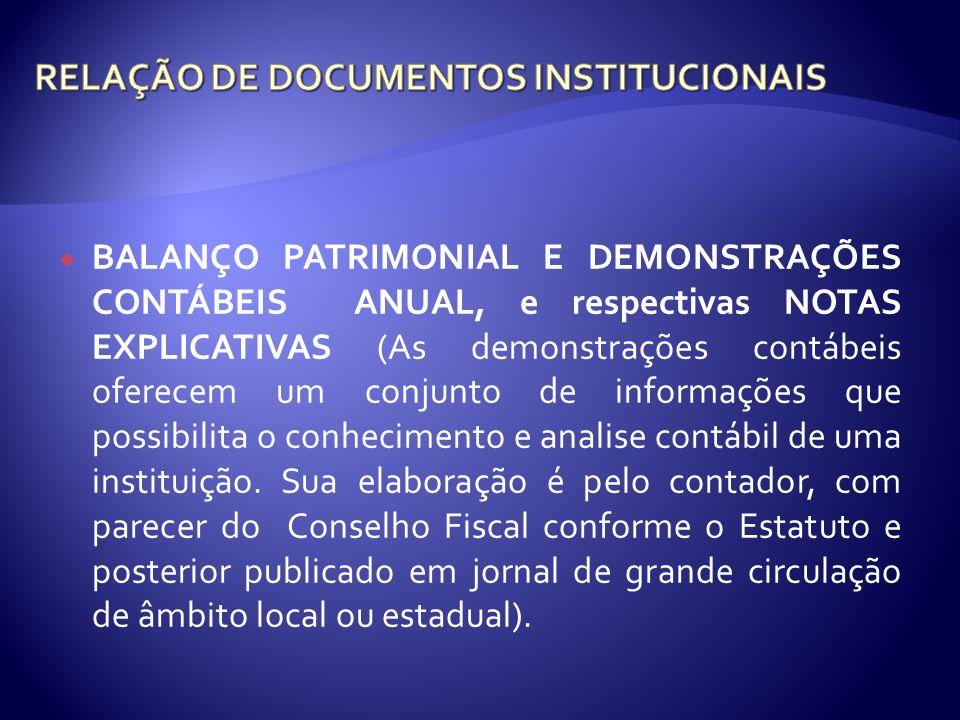 RELAÇÃO DE DOCUMENTOS INSTITUCIONAIS