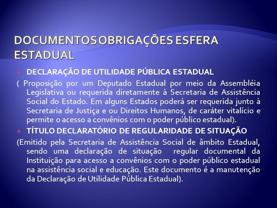 DOCUMENTOS OBRIGAÇÕES ESFERA ESTADUAL