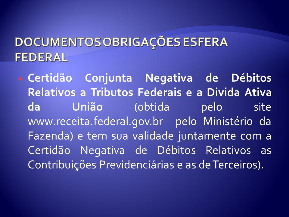 DOCUMENTOS OBRIGAÇÕES ESFERA FEDERAL