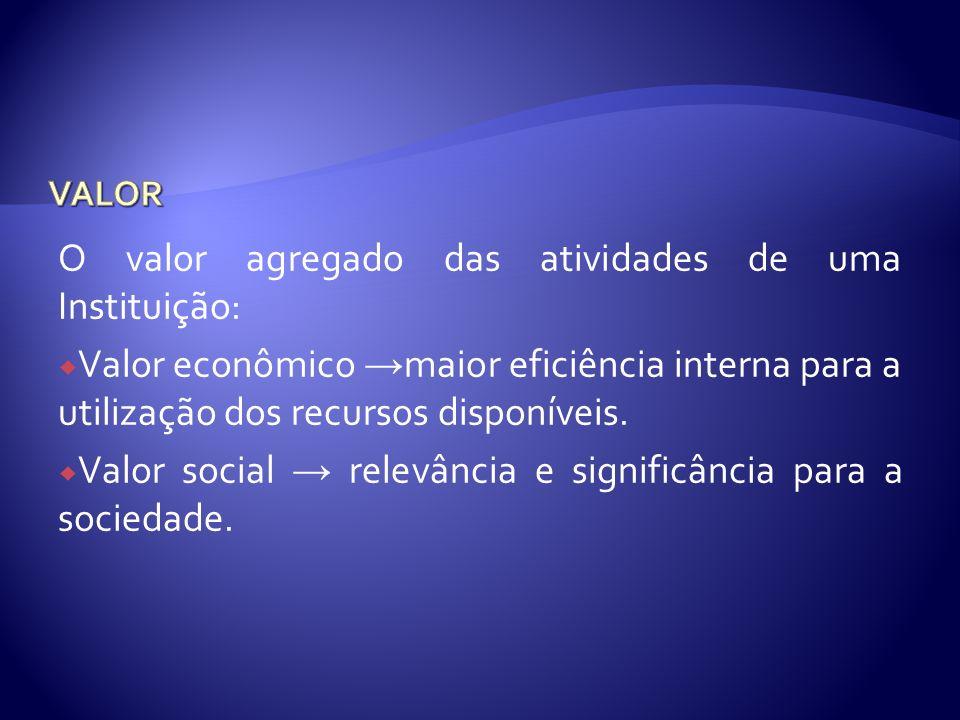 O valor agregado das atividades de uma Instituição:
