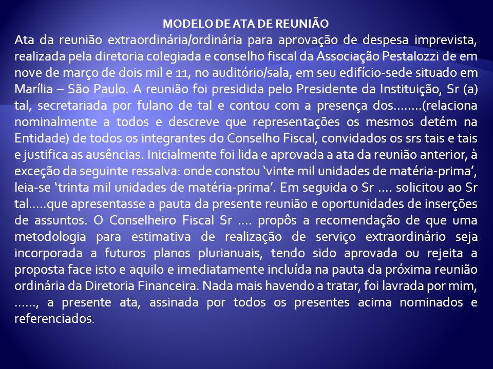 MODELO DE ATA DE REUNIÃO