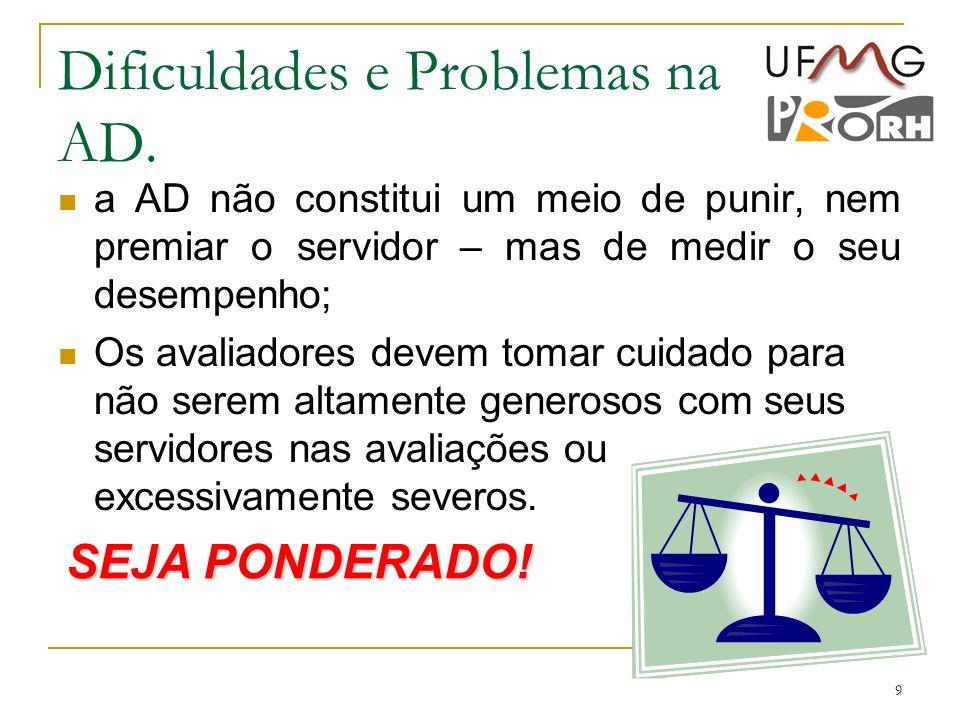 Dificuldades e Problemas na AD.