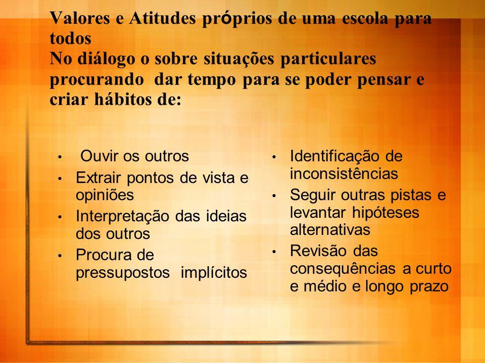 Valores e Atitudes próprios de uma escola para todos No diálogo o sobre situações particulares procurando dar tempo para se poder pensar e criar hábitos de: