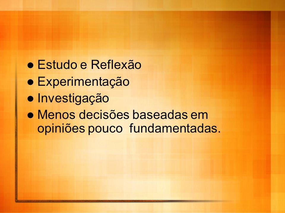 Estudo e Reflexão Experimentação. Investigação.