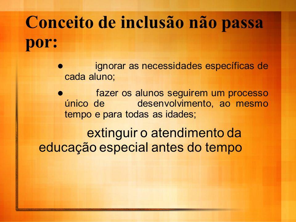 Conceito de inclusão não passa por: