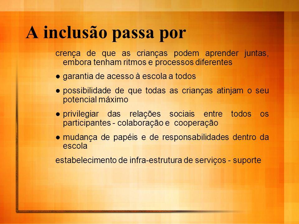 A inclusão passa por crença de que as crianças podem aprender juntas, embora tenham ritmos e processos diferentes.