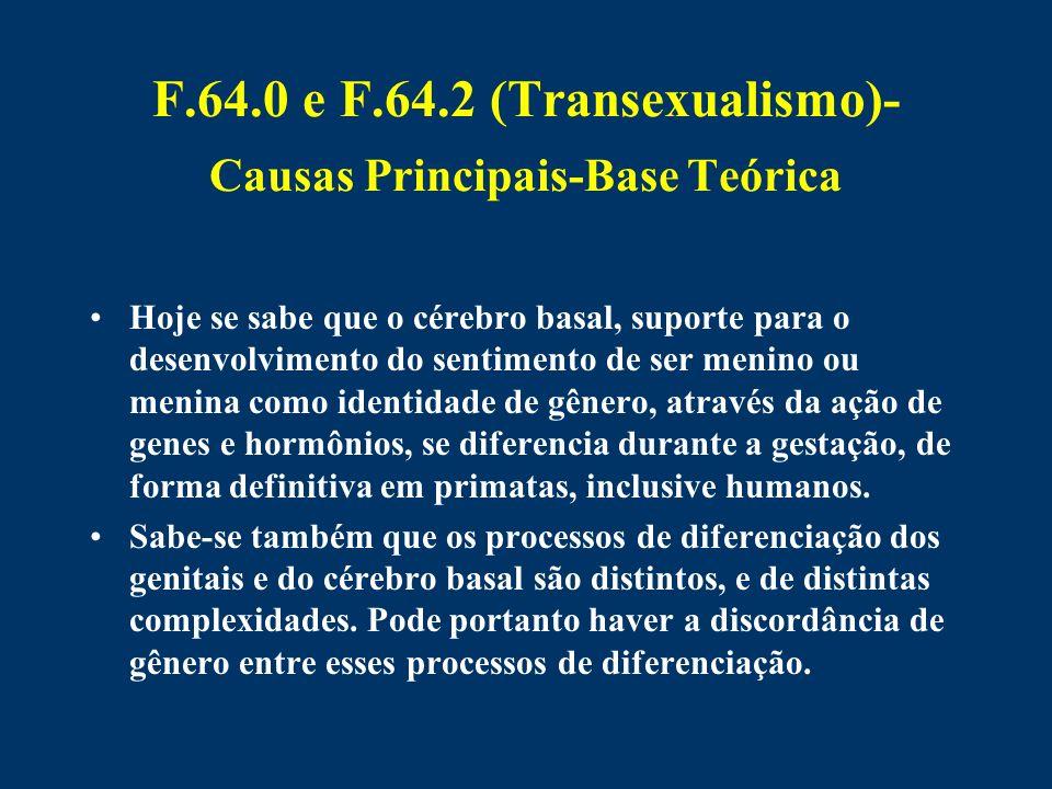 F.64.0 e F.64.2 (Transexualismo)-Causas Principais-Base Teórica
