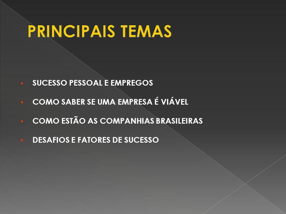 PRINCIPAIS TEMAS SUCESSO PESSOAL E EMPREGOS