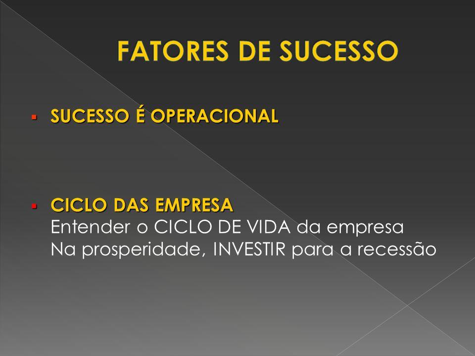 FATORES DE SUCESSO SUCESSO É OPERACIONAL CICLO DAS EMPRESA