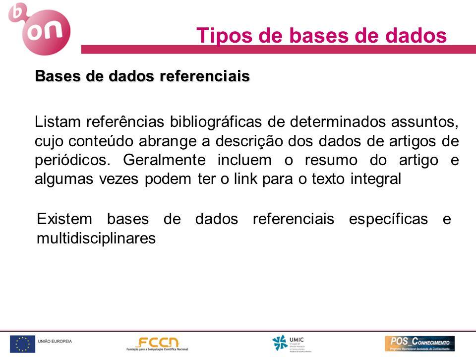 Tipos de bases de dados Bases de dados referenciais