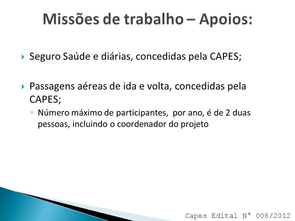 Missões de trabalho – Apoios: