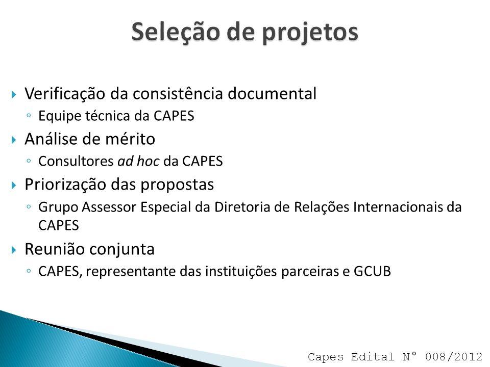 Seleção de projetos Verificação da consistência documental