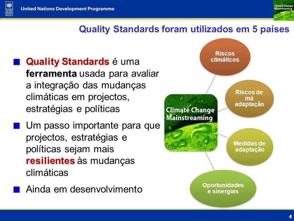 Quality Standards foram utilizados em 5 países