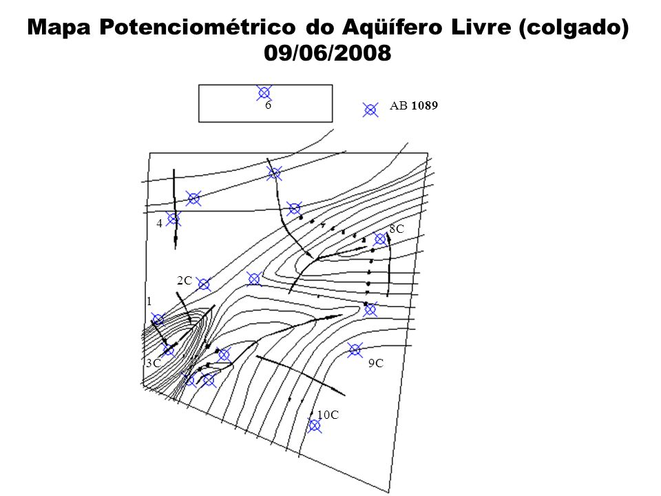 Mapa Potenciométrico do Aqüífero Livre (colgado)