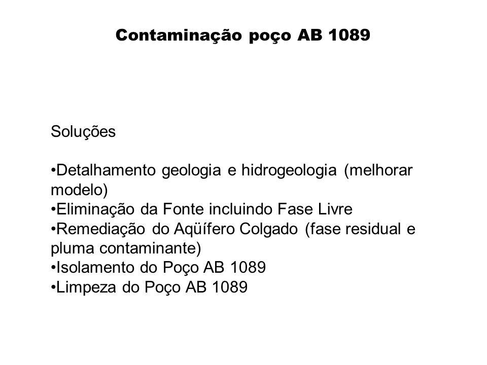 Contaminação poço AB 1089 Soluções. Detalhamento geologia e hidrogeologia (melhorar modelo) Eliminação da Fonte incluindo Fase Livre.