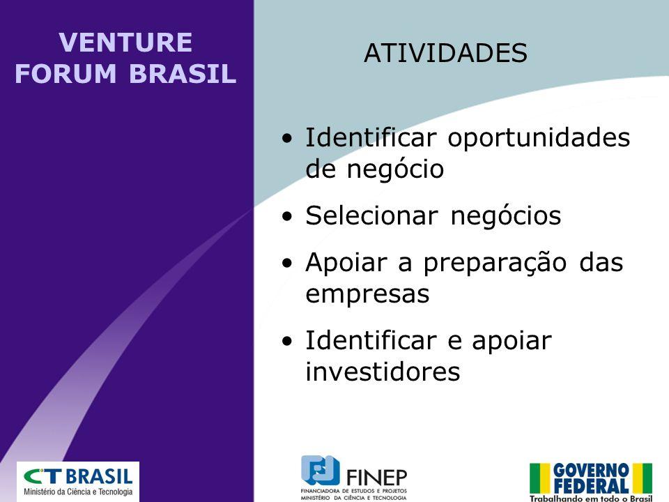 VENTURE FORUM BRASIL ATIVIDADES. Identificar oportunidades de negócio. Selecionar negócios. Apoiar a preparação das empresas.
