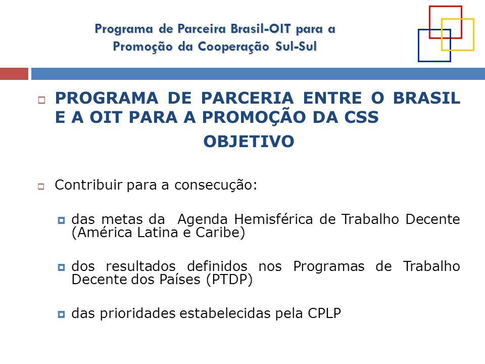 PROGRAMA DE PARCERIA ENTRE O BRASIL E A OIT PARA A PROMOÇÃO DA CSS