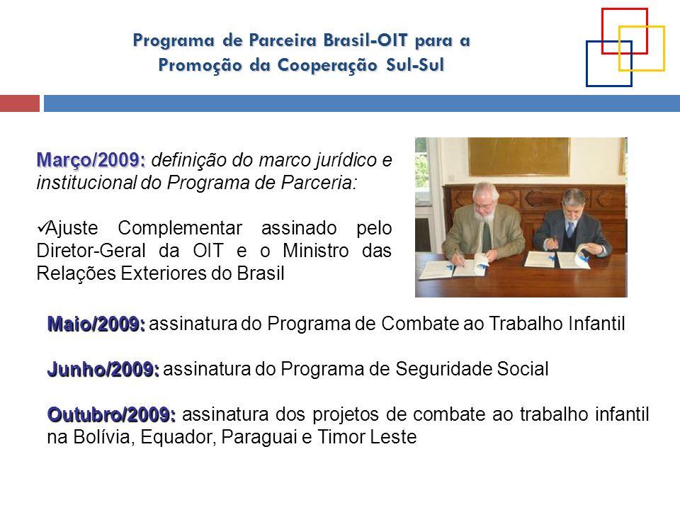 Março/2009: definição do marco jurídico e institucional do Programa de Parceria: