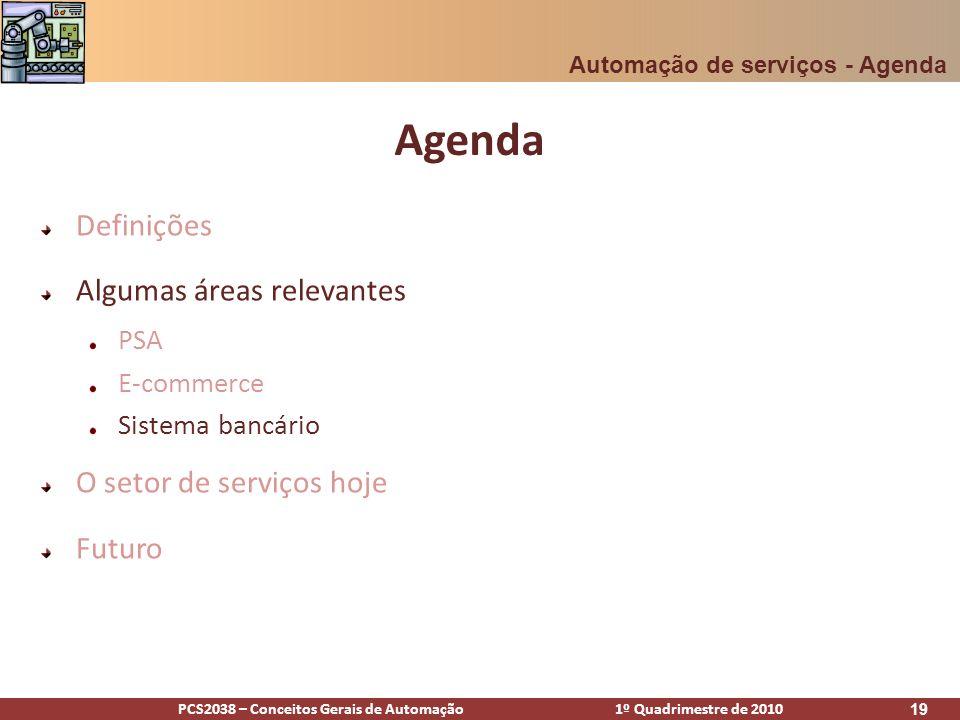 Agenda Definições Algumas áreas relevantes O setor de serviços hoje