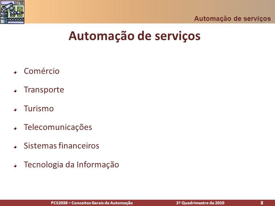 Automação de serviços Comércio Transporte Turismo Telecomunicações