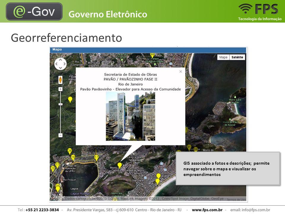 Georreferenciamento GIS associado a fotos e descrições; permite navegar sobre o mapa e visualizar os empreendimentos.