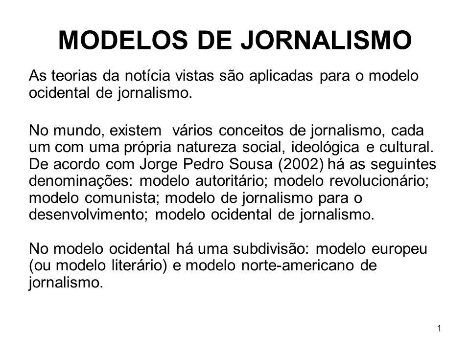 MODELOS DE JORNALISMO As teorias da notícia vistas são aplicadas para o modelo ocidental de jornalismo.