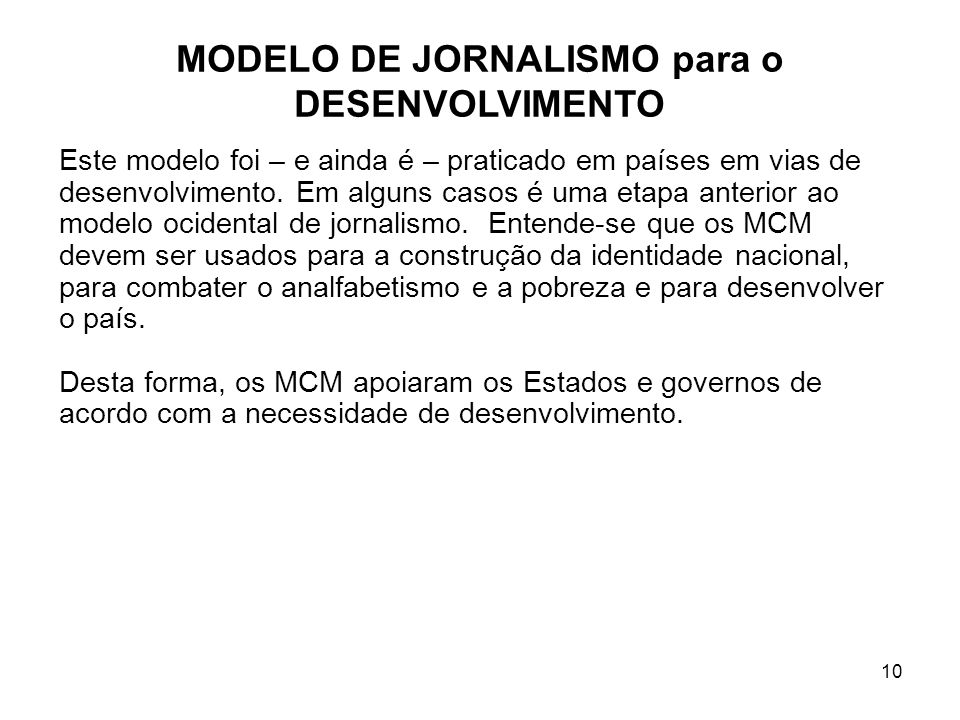 MODELO DE JORNALISMO para o DESENVOLVIMENTO