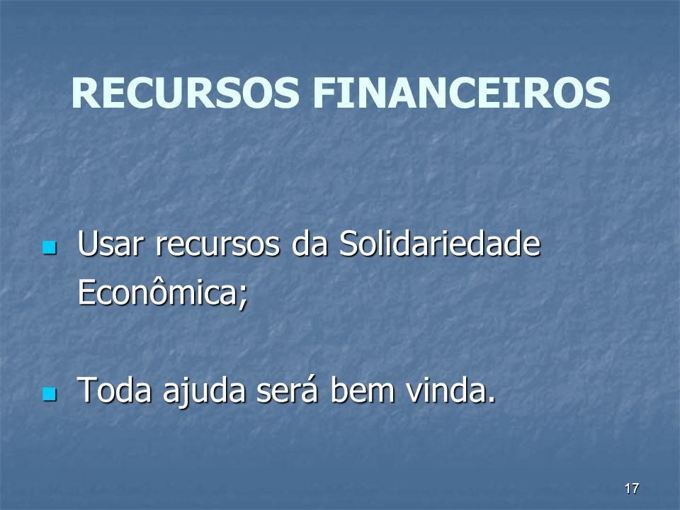 RECURSOS FINANCEIROS Usar recursos da Solidariedade Econômica;