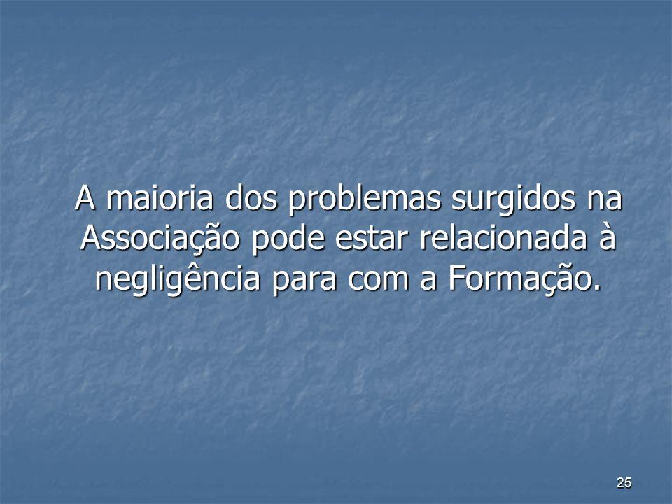 A maioria dos problemas surgidos na Associação pode estar relacionada à negligência para com a Formação.