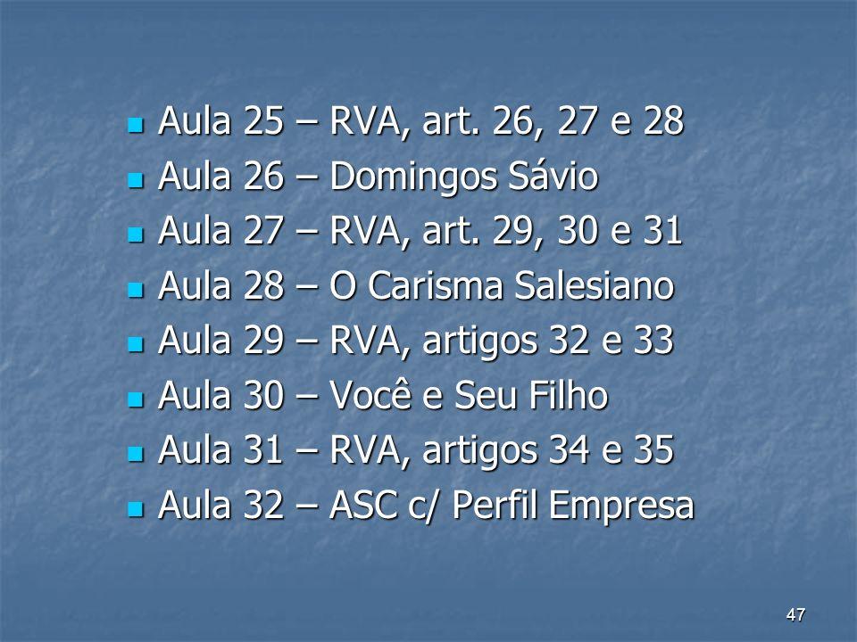Aula 25 – RVA, art. 26, 27 e 28 Aula 26 – Domingos Sávio. Aula 27 – RVA, art. 29, 30 e 31. Aula 28 – O Carisma Salesiano.