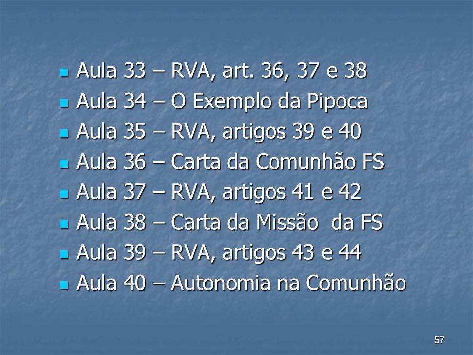 Aula 33 – RVA, art. 36, 37 e 38 Aula 34 – O Exemplo da Pipoca. Aula 35 – RVA, artigos 39 e 40. Aula 36 – Carta da Comunhão FS.