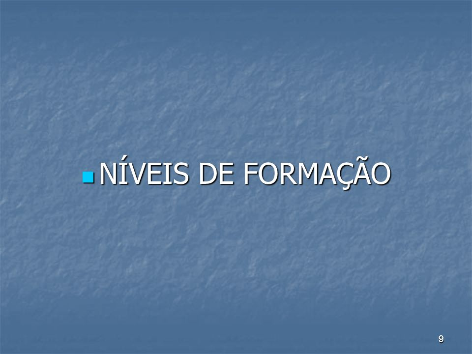 NÍVEIS DE FORMAÇÃO