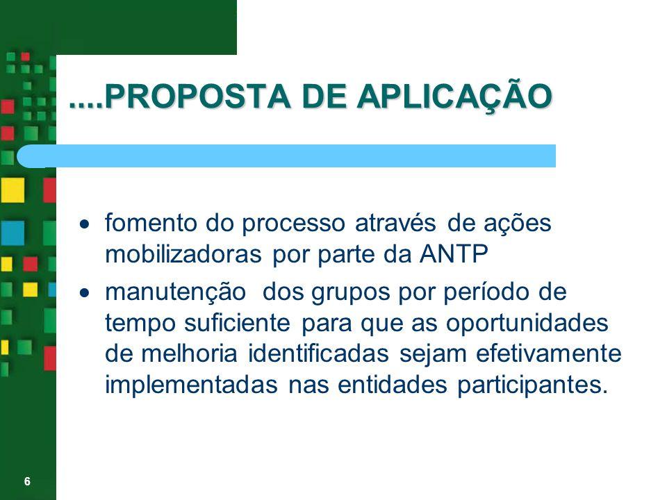 ....PROPOSTA DE APLICAÇÃO· fomento do processo através de ações mobilizadoras por parte da ANTP.